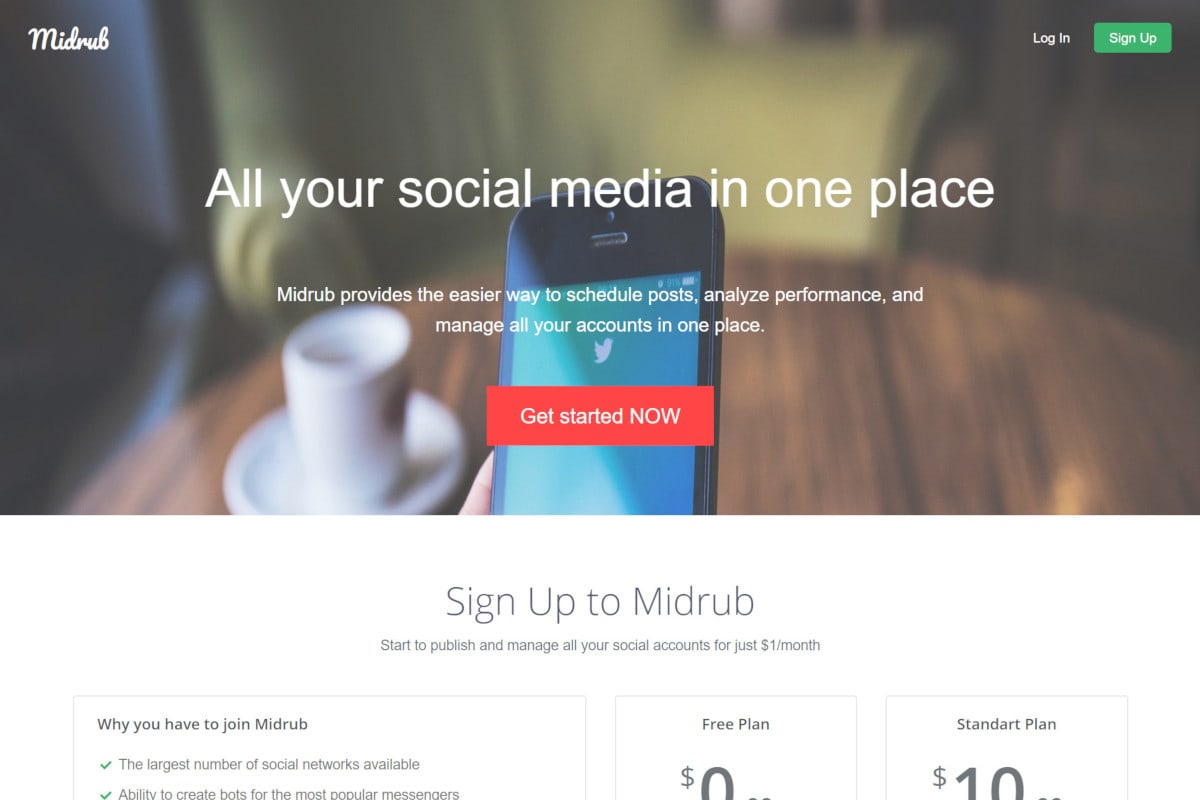 All in one Social Media dashboard called Midrub
