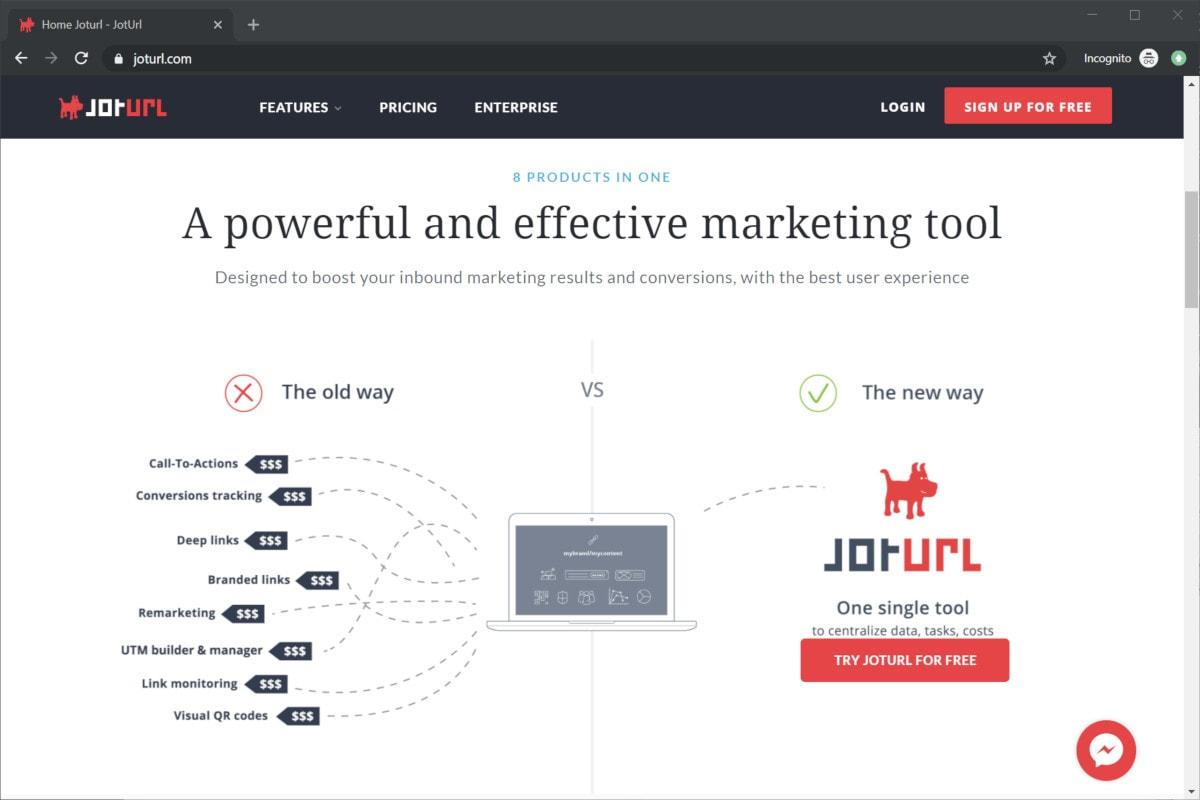 URL shortening tool with jotURL
